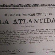 Coleccionismo Acciones Españolas: SOCIEDAD MINERA TITULADA LA ATLANTIDA - ENERO DE 1898 - CUEVAS - EXPECTACULAR PIEZA. Lote 46777676