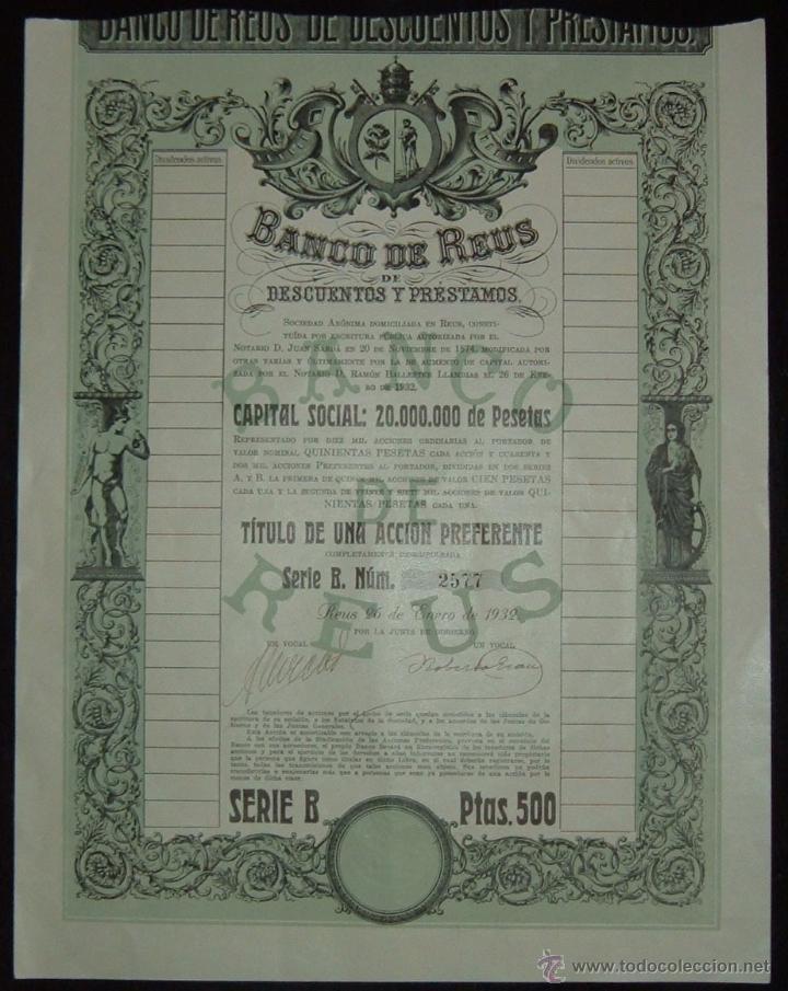 BANCO DE REUS DE DESCUENTOS Y PRÉSTAMOS - ACCIÓN PREFERENTE SERIE B, REUS - TARRAGONA (1932) (Coleccionismo - Acciones Españolas)