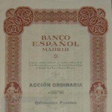 Coleccionismo Acciones Españolas: BANCO ESPAÑOL MADRID (1922). Lote 46877666