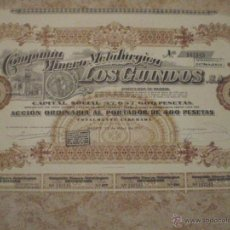 Coleccionismo Acciones Españolas: 1957 MADRID ANTIGUA ACCION COMPAÑIA MINERO METALURGICA LOS GUINDOS. ACCION DE 400 PESETAS. Lote 47211269