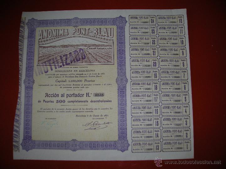 ANÓNIMA PUNT-BLAU.BARCELONA.AÑO 1931.ACCIÓN DE 500 PESETAS. (Coleccionismo - Acciones Españolas)