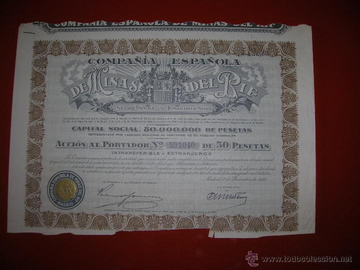 COMPAÑIA ESPAÑOLA DE MINAS DEL RIF.MADRID.AÑO 1935.ACCIÓN DE 50 PESETAS. (Coleccionismo - Acciones Españolas)