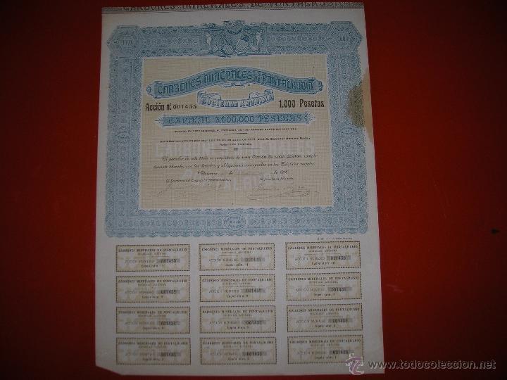 CARBONES MINERALES DE PORTALRUBIO.VALENCIA.AÑO 1918.ACCIÓN DE 1.000 PESETAS. (Coleccionismo - Acciones Españolas)