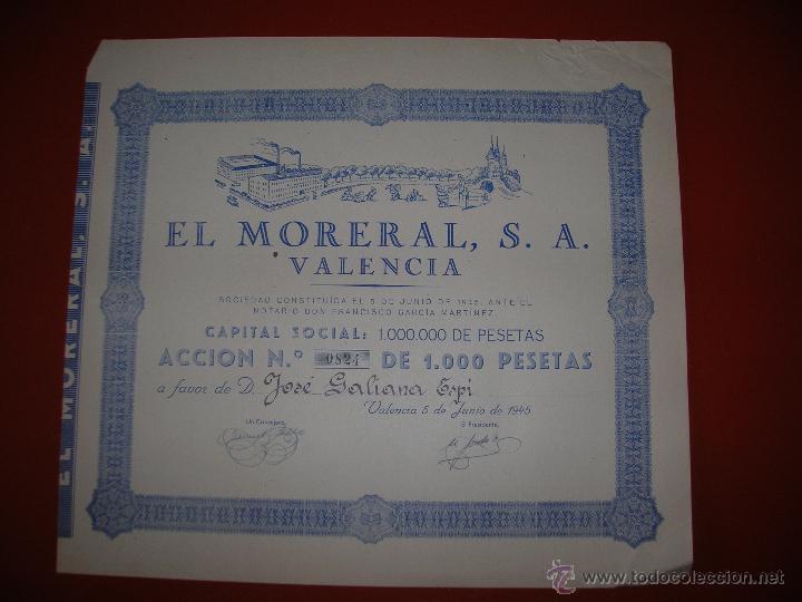 EL MORERAL, S.A.VALENCIA.AÑO 1945.ACCIÓN DE 1.000 PESETAS. (Coleccionismo - Acciones Españolas)