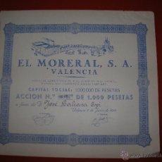 Coleccionismo Acciones Españolas: EL MORERAL, S.A.VALENCIA.AÑO 1945.ACCIÓN DE 1.000 PESETAS.. Lote 47347695