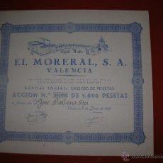 Coleccionismo Acciones Españolas: .EL MORERAL, S.A.VALENCIA.AÑO 1945.ACCIÓN DE 1.000 PESETAS.. Lote 47347712