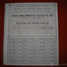 Coleccionismo Acciones Españolas: OMNIUM BARCELONÉS.S.A.PRODUCTOS QUIMICOS-FARMACEUTICOS.BARCELONA.AÑO 1910.ACCIÓN DE 50 PESETAS.. Lote 47348160