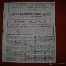 Coleccionismo Acciones Españolas: OMNIUM BARCELONÉS.S.A.PRODUCTOS QUIMICOS-FARMACEUTICOS.BARCELONA.AÑO 1910.ACCIÓN DE 50 PESETAS.. Lote 47348299