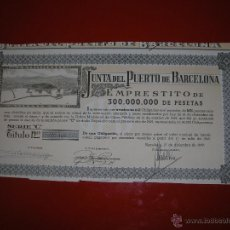 Coleccionismo Acciones Españolas: JUNTA DEL PUERTO DE BARCELONA.AÑO 1949.OBLIGACIÓN DE 1.000 PESETAS.. Lote 47348819