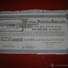 Coleccionismo Acciones Españolas: .JUNTA DEL PUERTO DE BARCELONA.AÑO 1949.OBLIGACIÓN DE 1.000 PESETAS.. Lote 47348828