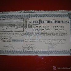 Coleccionismo Acciones Españolas: ..JUNTA DEL PUERTO DE BARCELONA.AÑO 1949.OBLIGACIÓN DE 1.000 PESETAS.. Lote 47348843