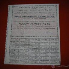 Coleccionismo Acciones Españolas: OMNIUM BARCELONÉS.S.A.PRODUCTOS QUIMICOS-FARMACEUTICOS.BARCELONA.AÑO 1910.ACCIÓN DE 50 PESETAS.. Lote 47349015