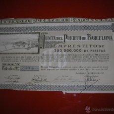 Coleccionismo Acciones Españolas: JUNTA DEL PUERTO DE BARCELONA.AÑO 1949.OBLIGACIÓN DE 1.000 PESETAS.. Lote 47349037