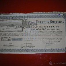 Coleccionismo Acciones Españolas: JUNTA DEL PUERTO DE BARCELONA.AÑO 1949.OBLIGACIÓN DE 1000 PESETAS.. Lote 47349153