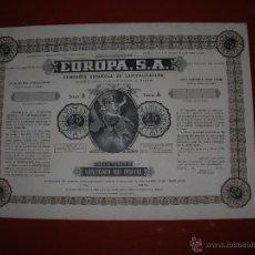 Coleccionismo Acciones Españolas: EUROPA,S.A.COMPAÑIA ESPAÑOLA DE CAPITALIZACIÓN.MADRID.AÑO 1949.TITULO DE 25.000 PESETAS.. Lote 47349352