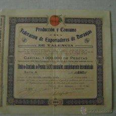 Coleccionismo Acciones Españolas: ACCION .PRODUCCION Y CONSUMO DE LA FEDERACION DE EXPORTADORES DE NARANJAS DE VALENCIA. Lote 47415563