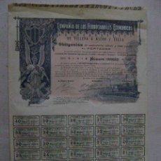 Coleccionismo Acciones Españolas: OBLIGACION DE 400 PESETAS DE LOS FERROCARRILES ECONOMICOS DE VILLENA A ALCOY Y YECLA. Lote 47416356