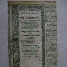 Coleccionismo Acciones Españolas: OBLIGACION DE LOS FERROCARRILES DE MADRID A ZARAGOZA Y A ALICANTE,1918. Lote 47418162