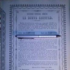 Coleccionismo Acciones Españolas: SOCIEDAD ESPECIAL MINERA LA BUENA AMISTAD CARRASCOY SANGONERA MURCIA 1869. Lote 47871249