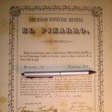 Coleccionismo Acciones Españolas: SOCIEDAD ESPECIAL MINERA EL PIZARRO CARRASCOY MURCIA 1869. Lote 47871375