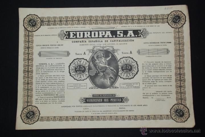ACCION 25000PTS 1949 EUROPA SA COMPAÑIA ESPAÑOLA DE CAPITALIZACION (Coleccionismo - Acciones Españolas)