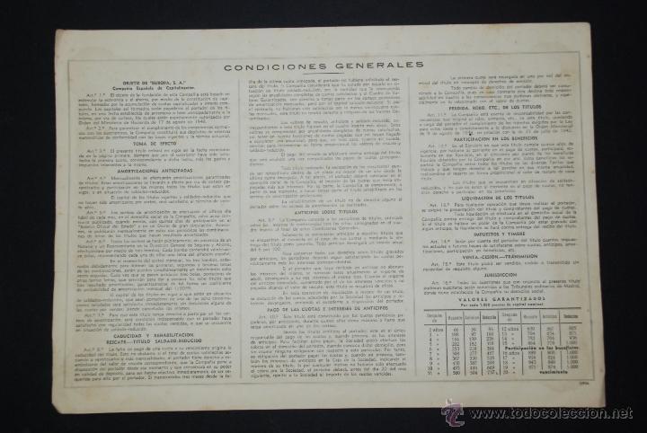 Coleccionismo Acciones Españolas: accion 25000pts 1949 europa sa compañia española de capitalizacion - Foto 2 - 48317854