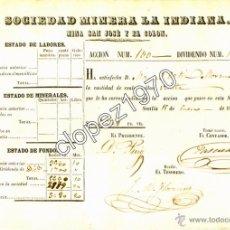 Coleccionismo Acciones Españolas: SEVILLA,1859, DIVIDENDO SOCIEDAD MINERA LA INDIANA, MINA SAN JOSE Y EL COLON, RARISIMO. Lote 48487363