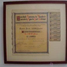 Coleccionismo Acciones Españolas: SOCIEDAD DE ABASTECIMIENTO DE AGUAS DE LOS MOLINOS 1921 ENMARCADO. Lote 49144650