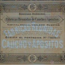Coleccionismo Acciones Españolas: FÁBRICAS REUNIDAS DE CAUCHO Y APÓSITOS, BARCELONA (1920). Lote 49272611