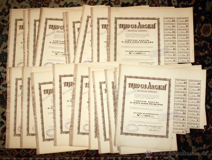 LOTE DE 47 ACCIONES DE TEJIDOS ARGEMI DEL AÑO 1939. TARRASSA (Coleccionismo - Acciones Españolas)