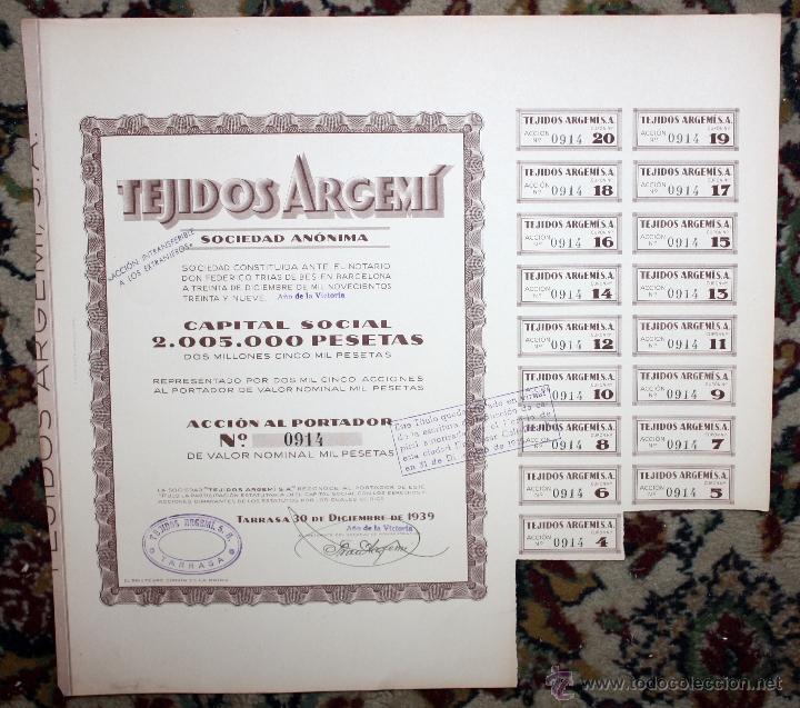 Coleccionismo Acciones Españolas: LOTE DE 47 ACCIONES DE TEJIDOS ARGEMI DEL AÑO 1939. TARRASSA - Foto 2 - 49301308