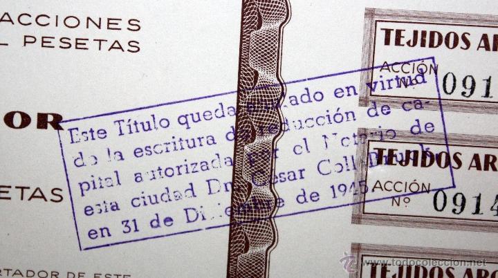 Coleccionismo Acciones Españolas: LOTE DE 47 ACCIONES DE TEJIDOS ARGEMI DEL AÑO 1939. TARRASSA - Foto 4 - 49301308