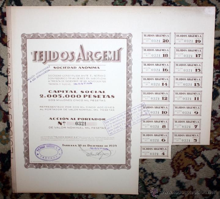 Coleccionismo Acciones Españolas: LOTE DE 47 ACCIONES DE TEJIDOS ARGEMI DEL AÑO 1939. TARRASSA - Foto 6 - 49301308