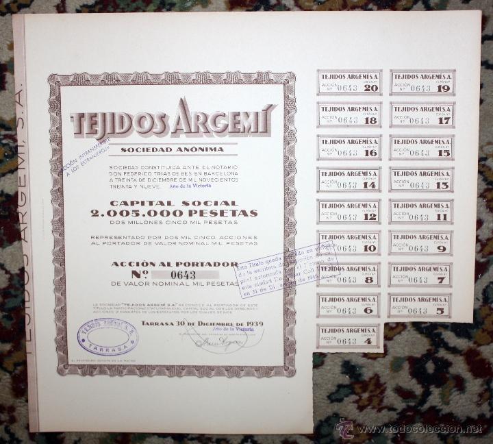 Coleccionismo Acciones Españolas: LOTE DE 47 ACCIONES DE TEJIDOS ARGEMI DEL AÑO 1939. TARRASSA - Foto 7 - 49301308