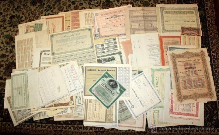 LOTE DE 83 ACCIONES VARIADAS. DIFERENTES TIPOS Y PAISES (RUSAS, POLACAS, ESPAÑOLAS...ETC) (Coleccionismo - Acciones Españolas)