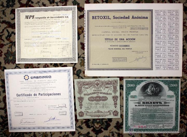Coleccionismo Acciones Españolas: LOTE DE 83 ACCIONES VARIADAS. DIFERENTES TIPOS Y PAISES (RUSAS, POLACAS, ESPAÑOLAS...ETC) - Foto 2 - 49301515