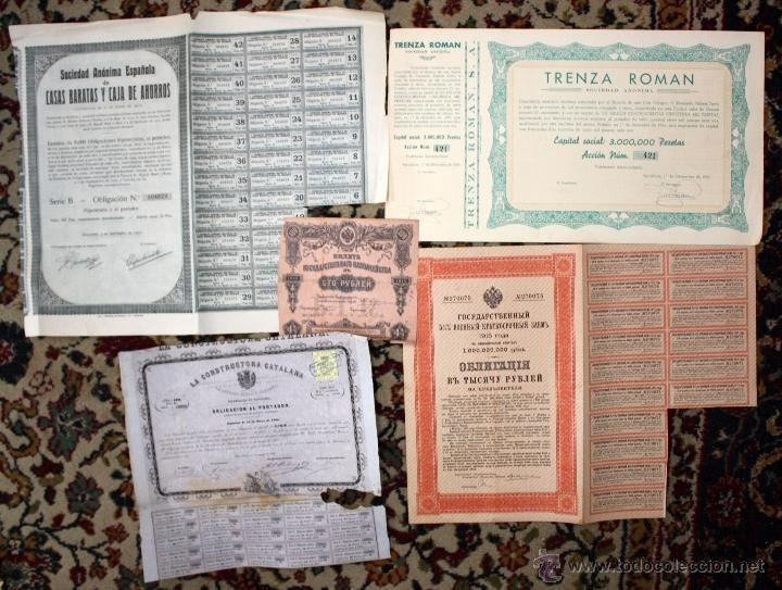 Coleccionismo Acciones Españolas: LOTE DE 83 ACCIONES VARIADAS. DIFERENTES TIPOS Y PAISES (RUSAS, POLACAS, ESPAÑOLAS...ETC) - Foto 4 - 49301515