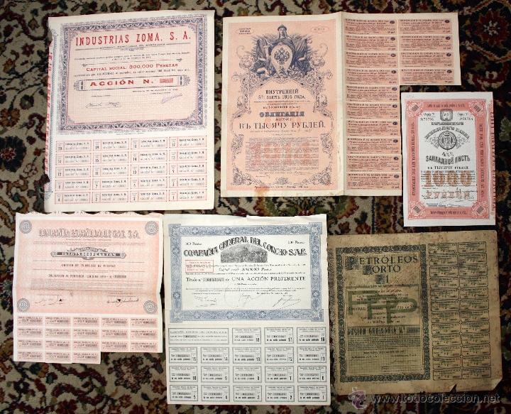 Coleccionismo Acciones Españolas: LOTE DE 83 ACCIONES VARIADAS. DIFERENTES TIPOS Y PAISES (RUSAS, POLACAS, ESPAÑOLAS...ETC) - Foto 6 - 49301515