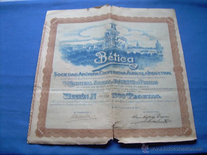 ACCION DE 1000 PESETAS DE LA SOCIEDAD ANONIMA COOPERATIVA AGRICOLA INDUSTRIAL - SEVILLA 1926 (Coleccionismo - Acciones Españolas)