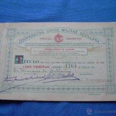 Coleccionismo Acciones Españolas: ACCION DE LA COOPERATIVA CIVICO MILITAR SEVILLANA - ABRIL DE 1920. Lote 49380146