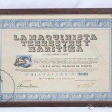 Coleccionismo Acciones Españolas: ACCIÓN ENMARCADA, AÑO 1950 - LA MAQUINISTA TERRESTRE Y MARÍTIMA, SA - BARCELONA - COLOR AZUL. Lote 49426216