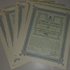 Coleccionismo Acciones Españolas: LOTE DE 5 ACCIONES DE LA SOCIEDAD ANONIMA DE CONSTRUCCIONES. 1962. SEVILLA. VER FOTOS. Lote 49440494
