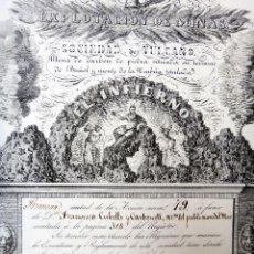 Coleccionismo Acciones Españolas: ACCION EXPLOTACION MINAS, SOCIEDAD VULCANO 2ª 79 , EL INFIERNO, BUÑOL, VALENCIA 1842 , ORIGINAL. Lote 49512314