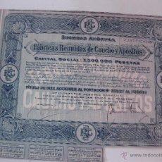 Coleccionismo Acciones Españolas: ACCION FABRICAS REUNIDAS DE CAUCHO Y APOSITO S.A. BARCELONA 28 DICIEMBRE 1931. CON 3 CUPONES. Lote 49654887