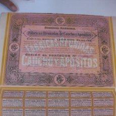 Coleccionismo Acciones Españolas: ACCION FABRICAS REUNIDAS DE CAUCHO Y APOSITO S.A. BARCELONA 26 JUNIO 1926. CON 30 CUPONES. Lote 49654950