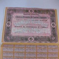 Coleccionismo Acciones Españolas: ACCION FABRICAS REUNIDAS DE CAUCHO Y APOSITO S.A. BARCELONA 24 AGOSTO 1920. CON 31 CUPONES. Lote 49654986