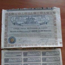 Coleccionismo Acciones Españolas: 1935 ACCIONES COMPAÑÍA ESPAÑOLA DE MINAS DEL RIF. Lote 50027534
