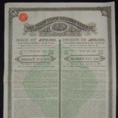 Coleccionismo Acciones Españolas: FERROCARRIL ANGLO VASCO NAVARRO - THE ANGLO VASCO NAVARRO RAILWAY, ÁLAVA / VIZCAYA / NAVARRA (1889). Lote 93808287