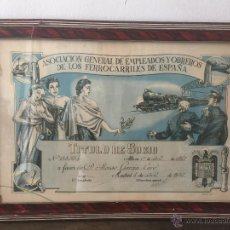 Coleccionismo Acciones Españolas: TITULO DE SOCIO ASOCIACION GENERAL DE EMPLEADOS Y OBREROS DE FERROCARRILES DE ESPAÑA 1957. Lote 50373242