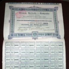 Coleccionismo Acciones Españolas: ACCIÓN ORONOZ,BORBOLLA Y COMPAÑÍA,RARA ACCIÓN DE VINOS DE JEREZ DE LA FRONTERA,CÁDIZ,CONSERVA CUPONE. Lote 50492306
